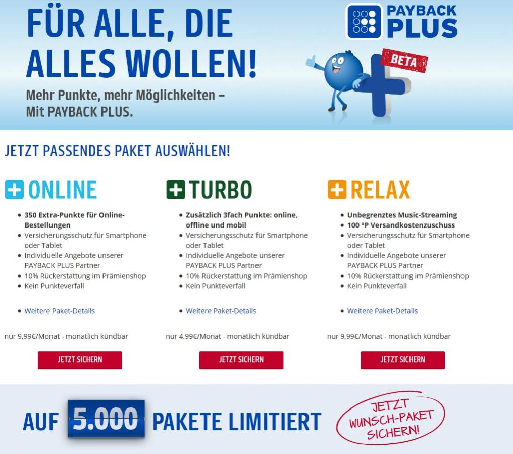 Payback Plus - Online, Turbo und Relax Paket