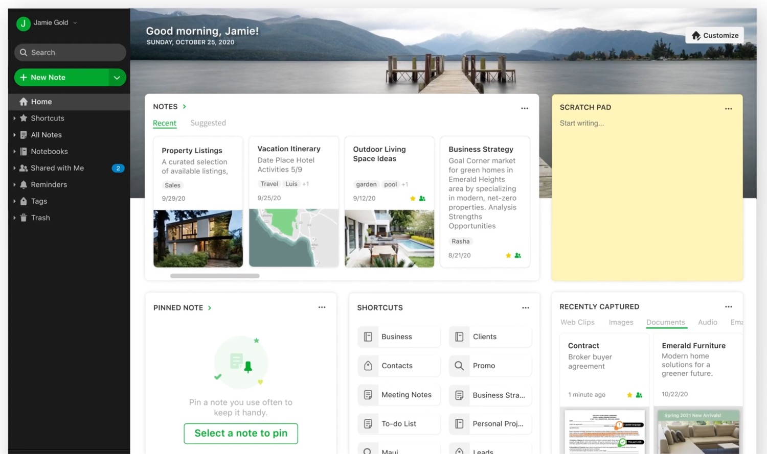 Evernote Home Dashboard