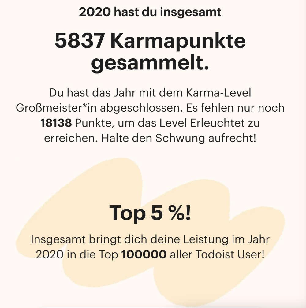 Todoist Jahresrückblick 2020 - Bildquelle: dennisvitt.de