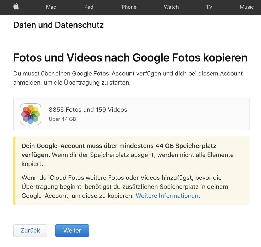 iCloud Fotos zu Google Photos exportieren